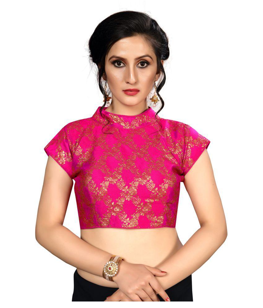 Fab Dadu Pink Jacquard Readymade with Pad Blouse