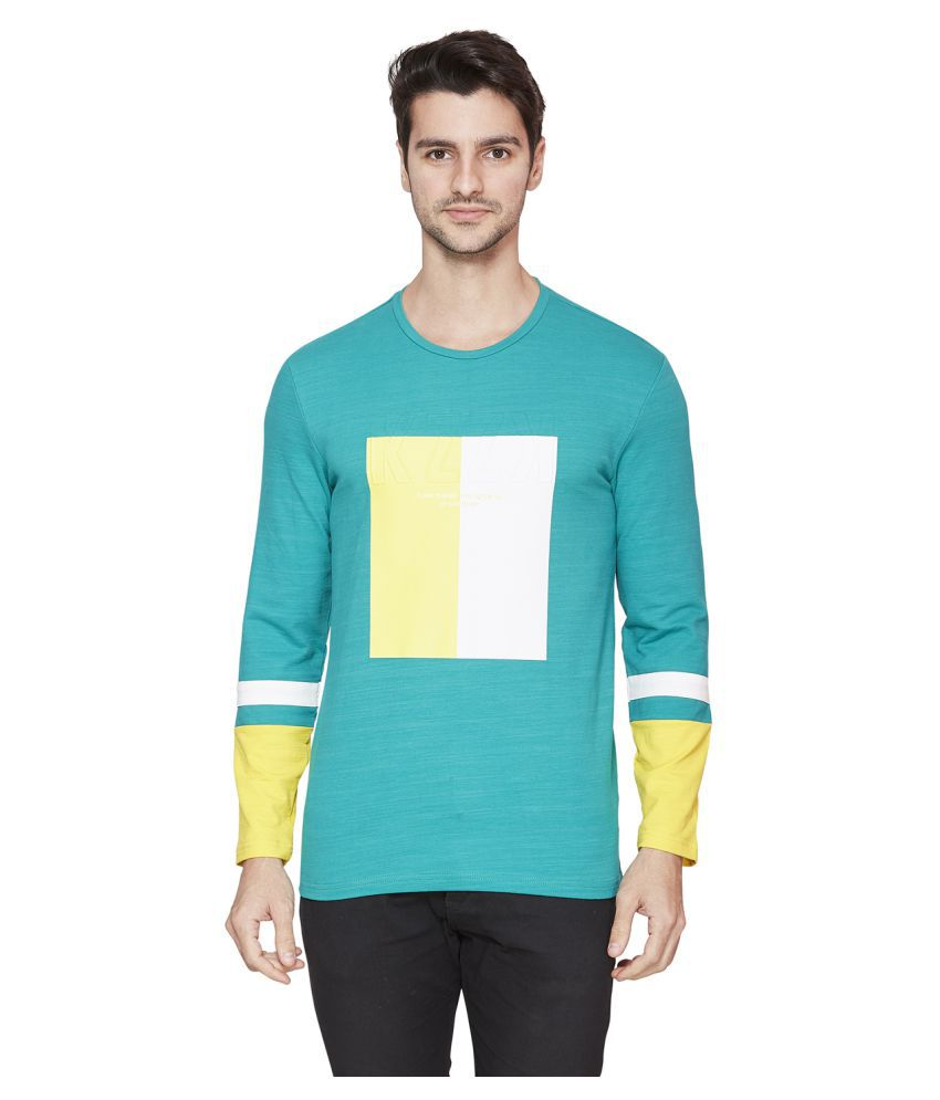 Kozzak Cotton Lycra Green Solids T-Shirt