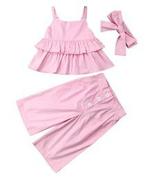 Baby Pink Culottes set with headband