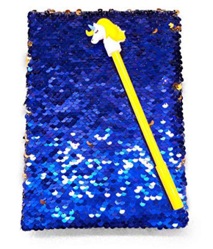 Prezzie Villa Designer Magic Royal Blue Sequins Diary with Stylish Unicorn Pen