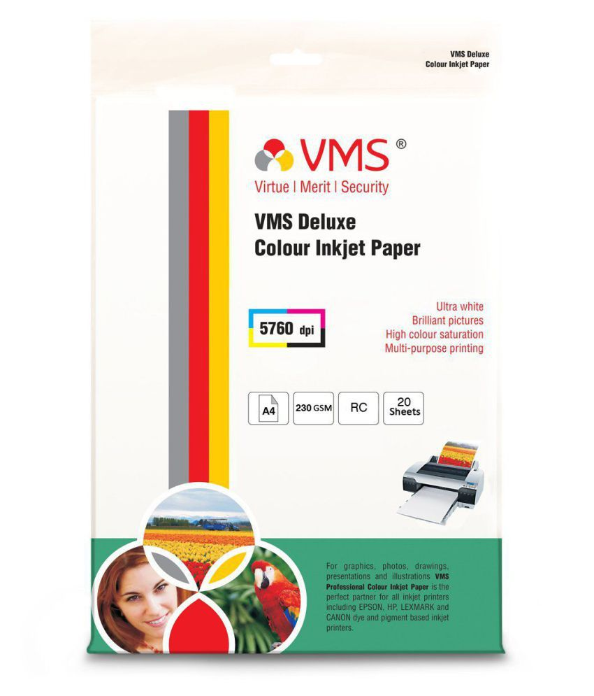 VMS Resin Coated Deluxe A4 230 GSM photo paper 20 sheets Unruled A4 Inkjet Paper   Set of 1, White