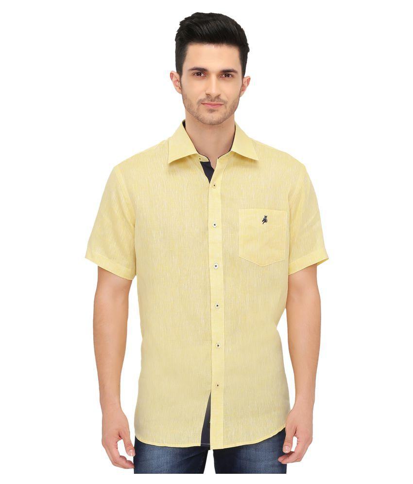 KHODAY WILLIAMS Linen Yellow Solids Shirt