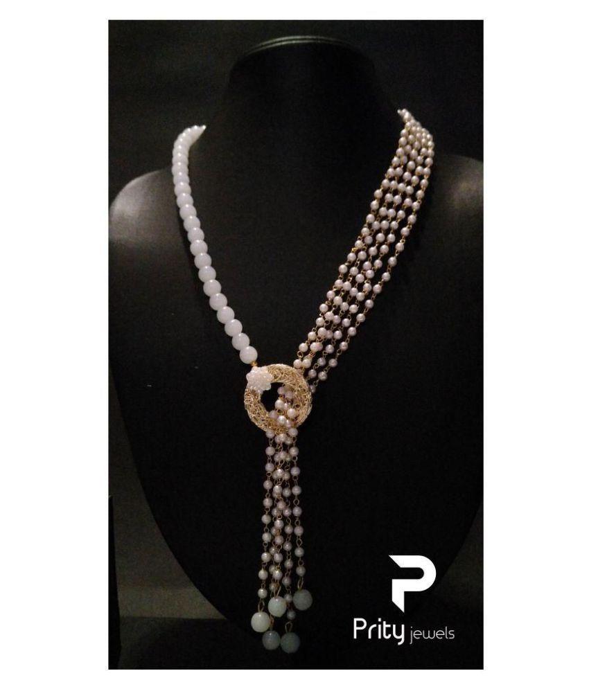 Prity Jewels Alloy Golden Long Haram Designer Antique Necklaces Set