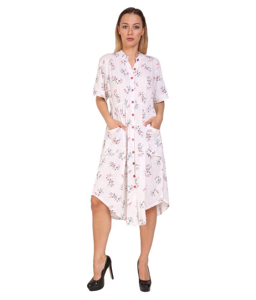 Aashish Fabrics Cotton Plus Size White Fit And Flare Dress ...