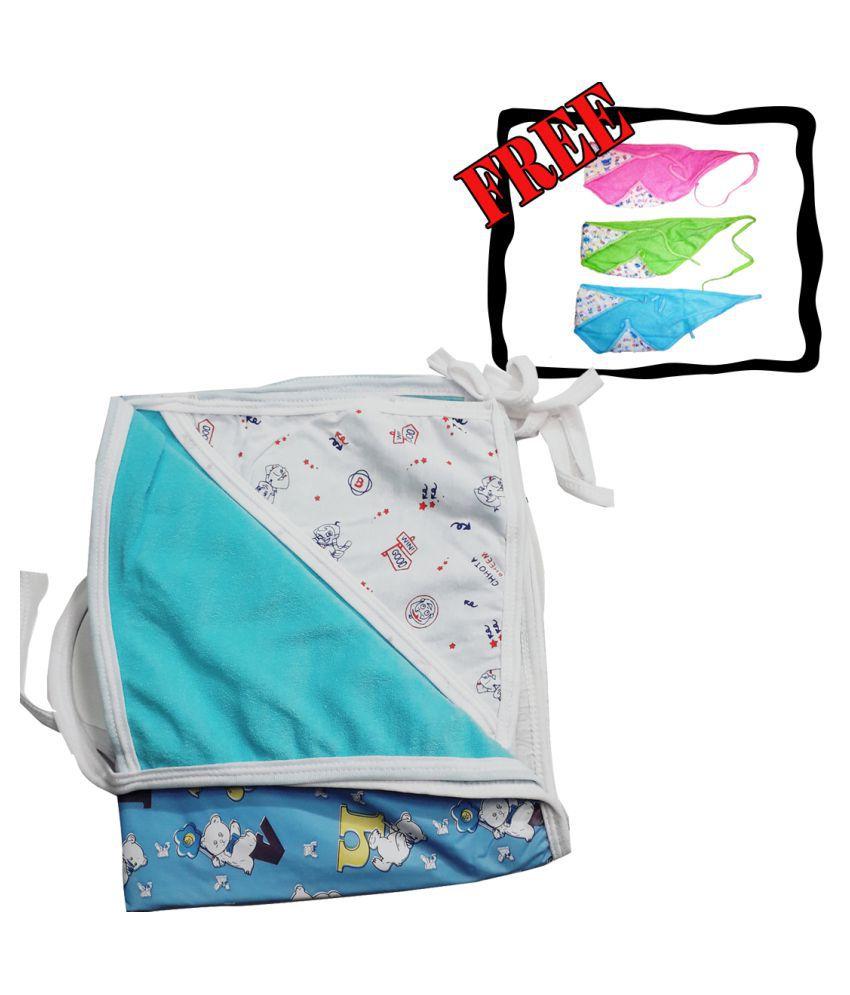 SAASHIKA Blue Cotton Baby Wrap cum blanket ( 67 cm × 53 cm - 1 pcs)