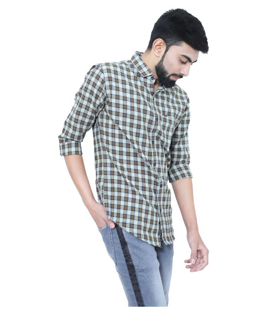 mountwell 100 Percent Cotton Green Prints Shirt