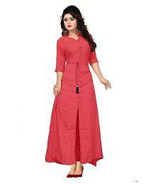 Khanak Fashion Pink Rayon A-line Kurti