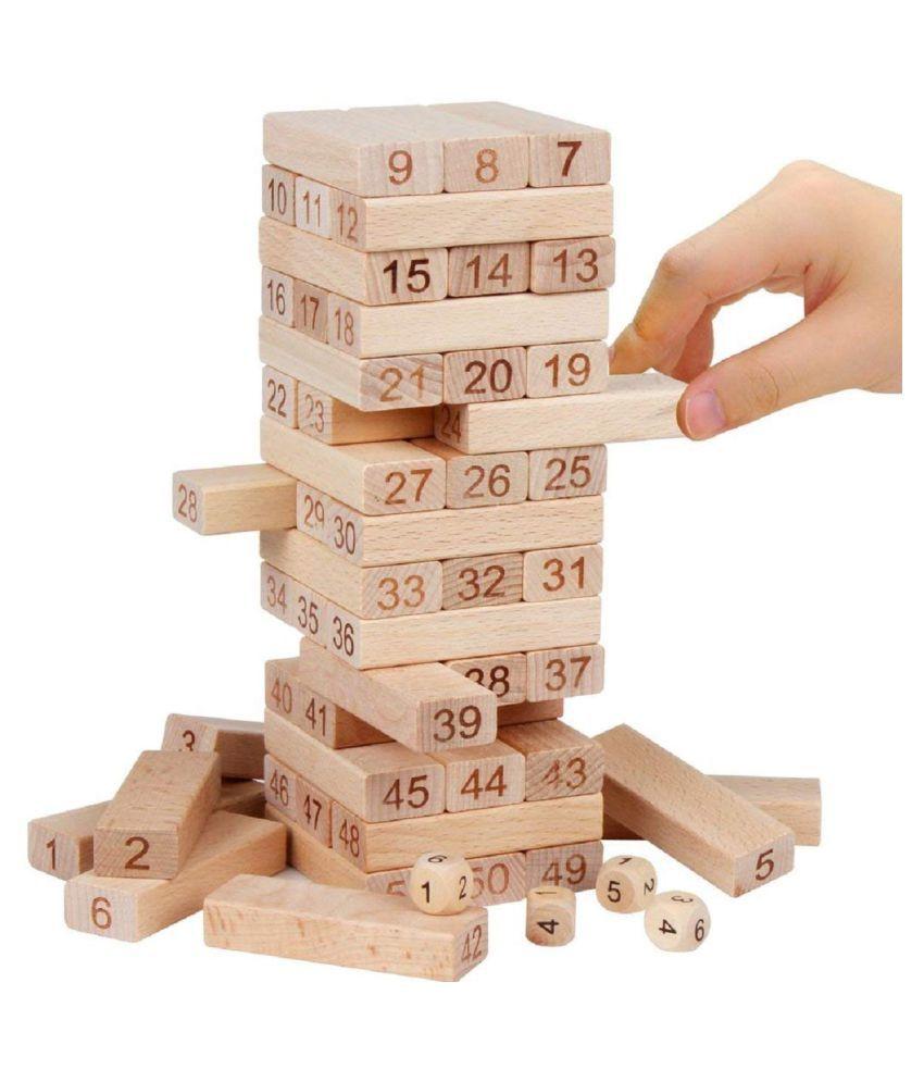 54 Pcs Blocks 4 Dices Wooden Tumbling Stacking Jenga Building Tower Game