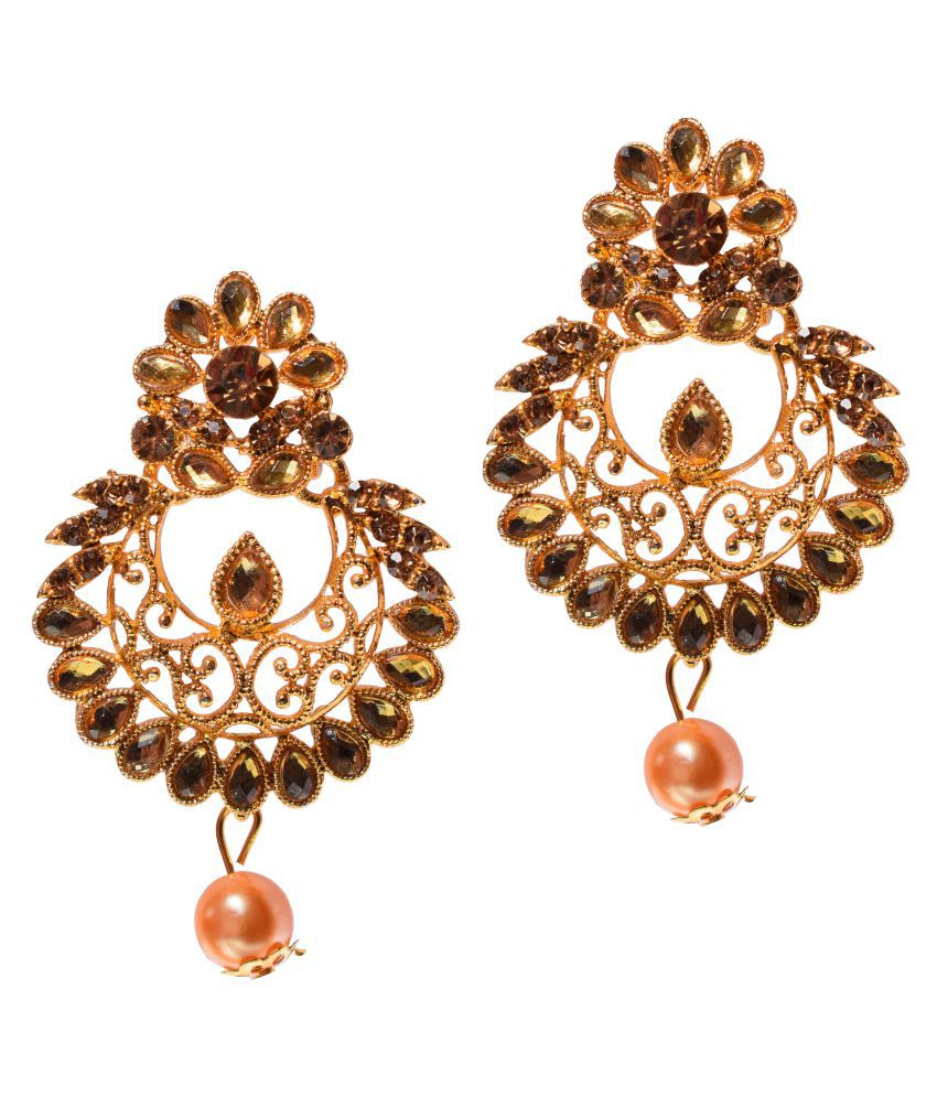 Beautiful Flower and Chandbali Shape Golen and Brown Color Zircon, Crystal Alloy Drops & Danglers