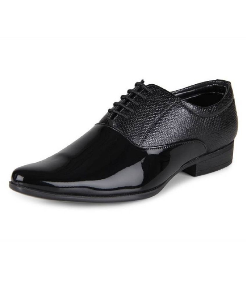 DEEKADA Party Artificial Leather Black Formal Shoes