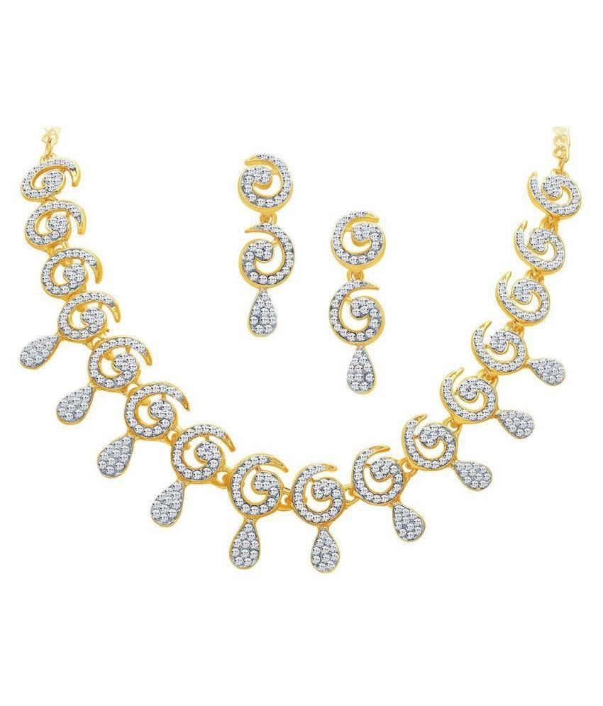 3cf1704fe ... M J Fashion Jewellery Brass Golden Long Haram Designer 22kt Gold Plated  Necklace set Combo ...
