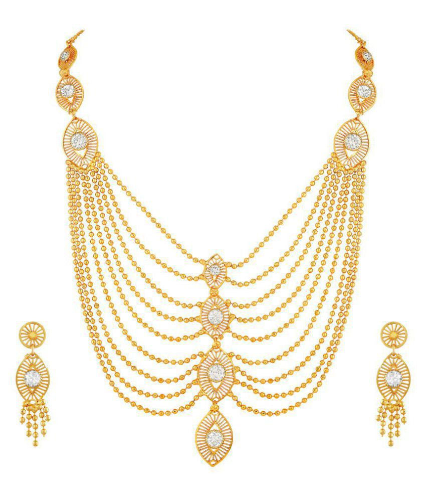3c580d1f14544 Asmitta Jewellery Brass Golden Opera Traditional Gold Plated Necklaces Set