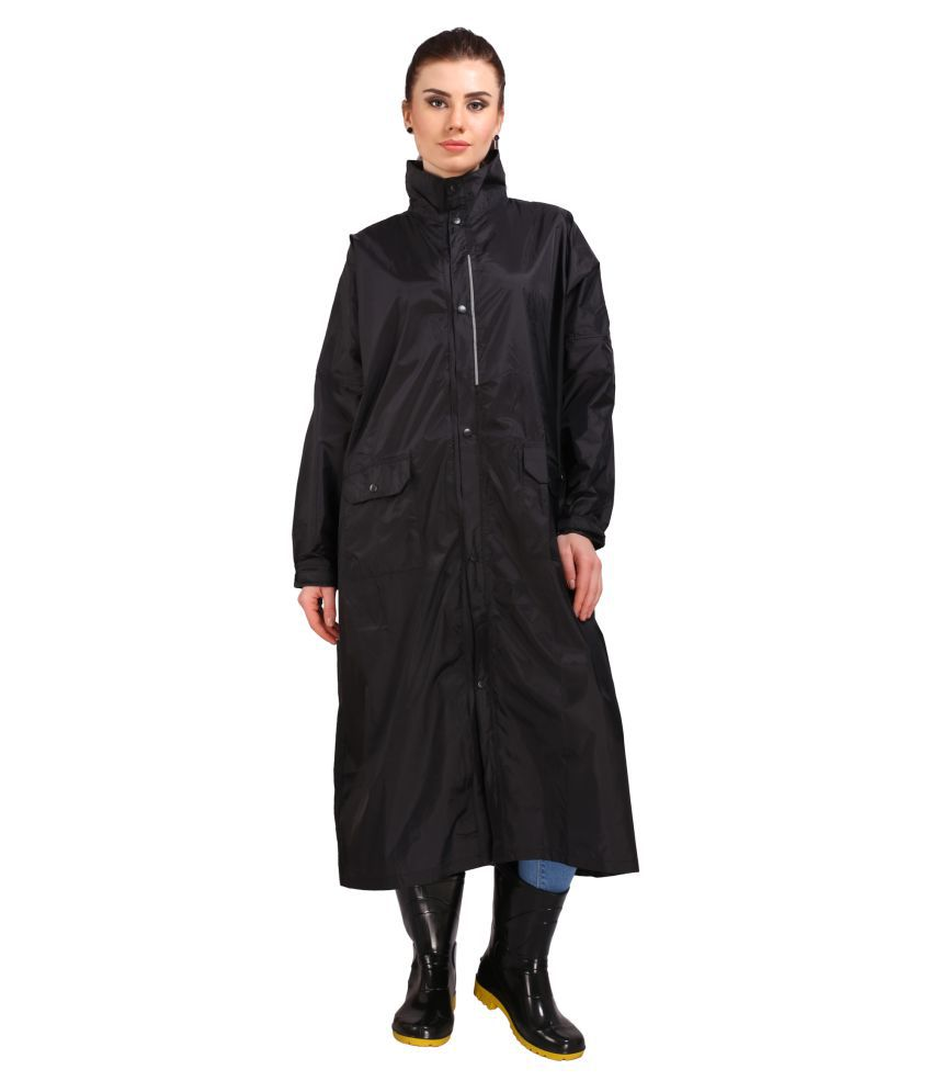 Goodluck Nylon Long Raincoat - Black