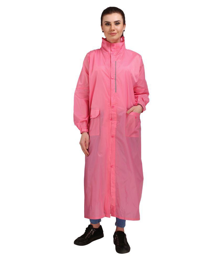 Goodluck Nylon Long Raincoat - Pink