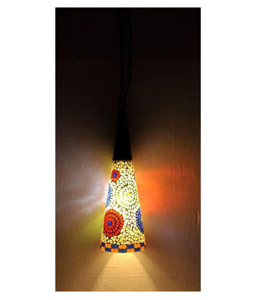 Lal Haveli Glass Hanging Mosaic Glass Night Lamp Pendant White - Pack of 1