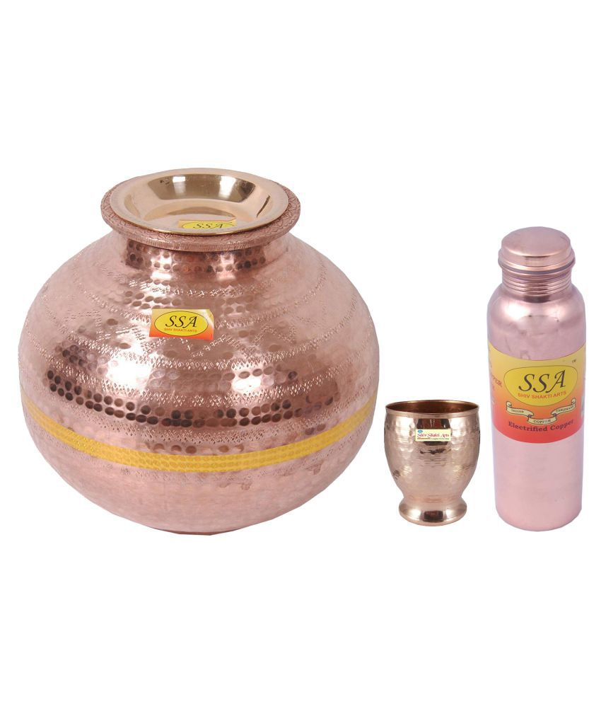 Shiv Shakti Arts Copper Matka 7 Litre 3 Pcs Lemon set
