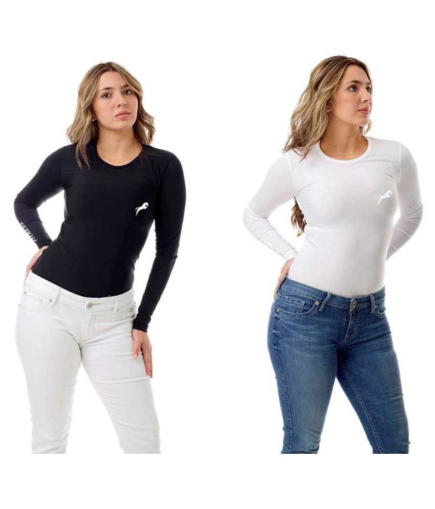 Just rider Compression Tshirt for Women Combo White&Black