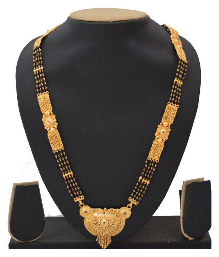 RADHEKRISHNA golden 4 line beautiful alloy material long big pendal mangalsutra