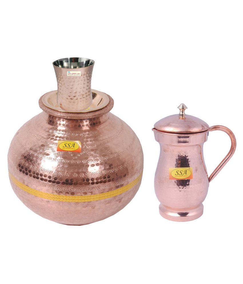 Shiv Shakti Arts Copper Matka 7 Litre 3 Pcs Jug and Glass Combo