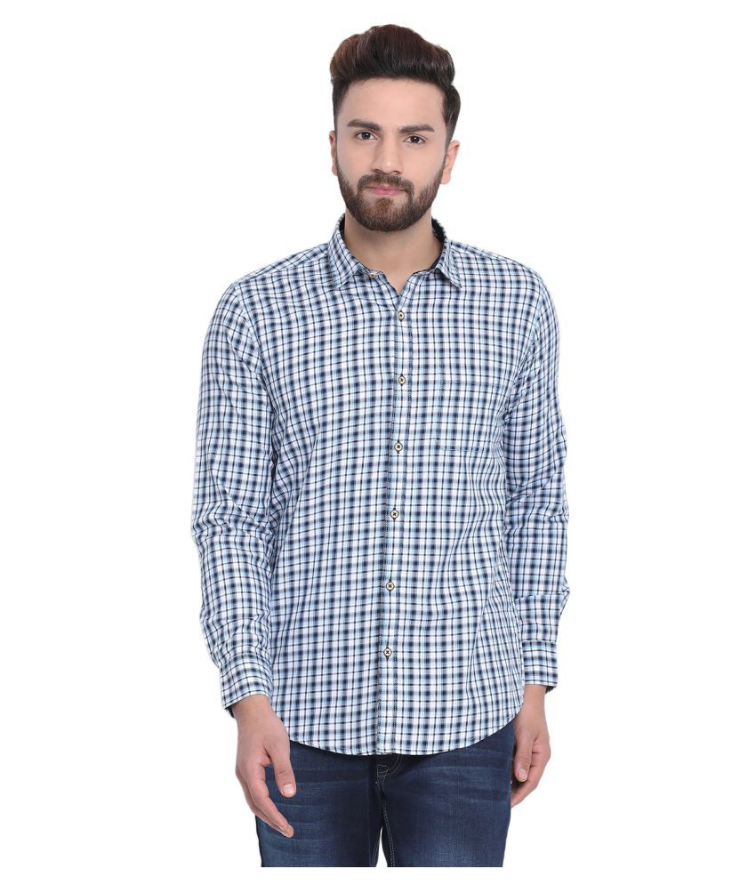 Richlook 100 Percent Cotton Blue Checks Shirt
