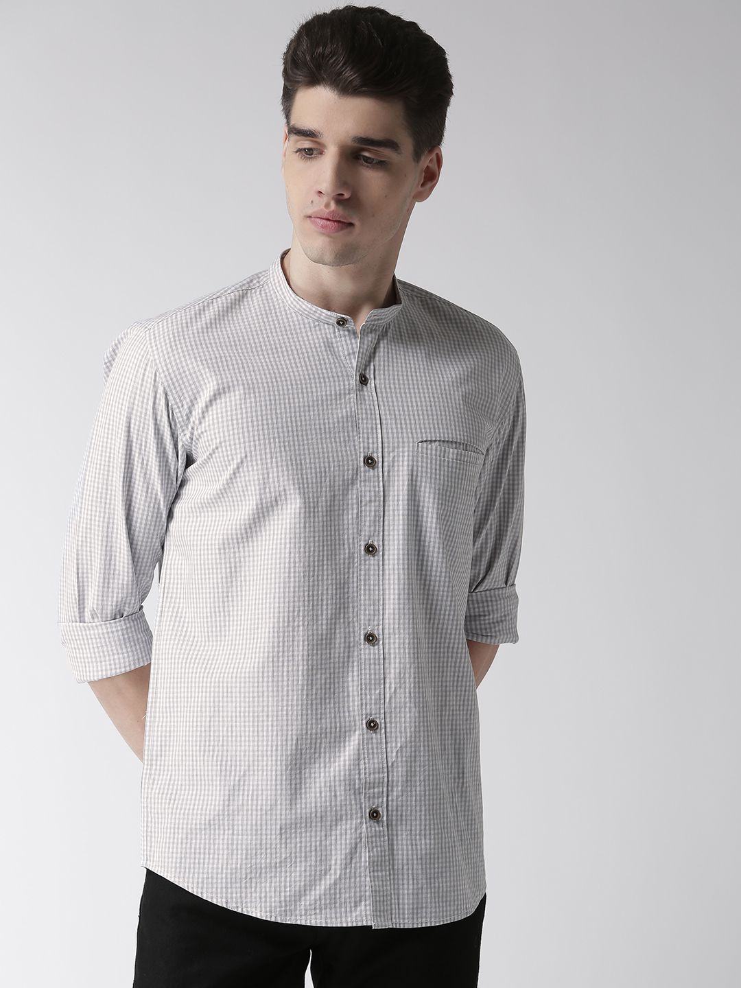 Richlook 100 Percent Cotton Grey Checks Shirt