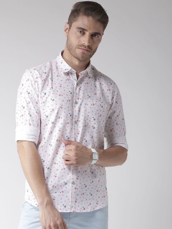 Richlook 100 Percent Cotton White Prints Shirt