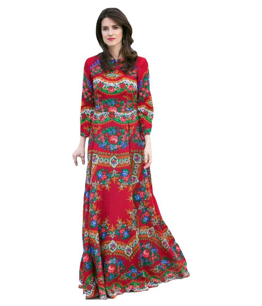 Ritsila Poly Cotton Red A- line Dress