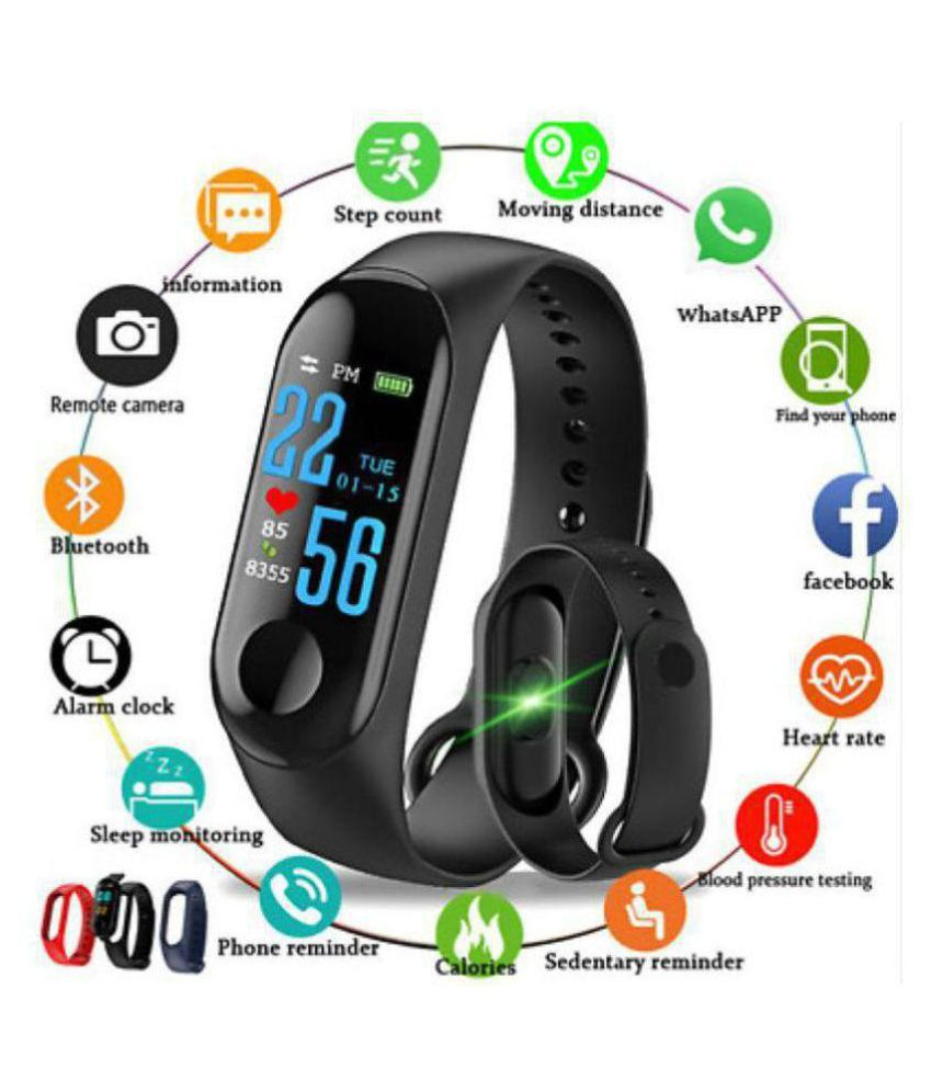 Vnex M3 Waterproof Heart Monitoring Fitness Smart Fitness Band Heart Rate Monitor Bluetooth Smartband Health Fitness Tracker Smart Band Wristband (features similar to MI watch) Compatible with all Android & IOS Devices