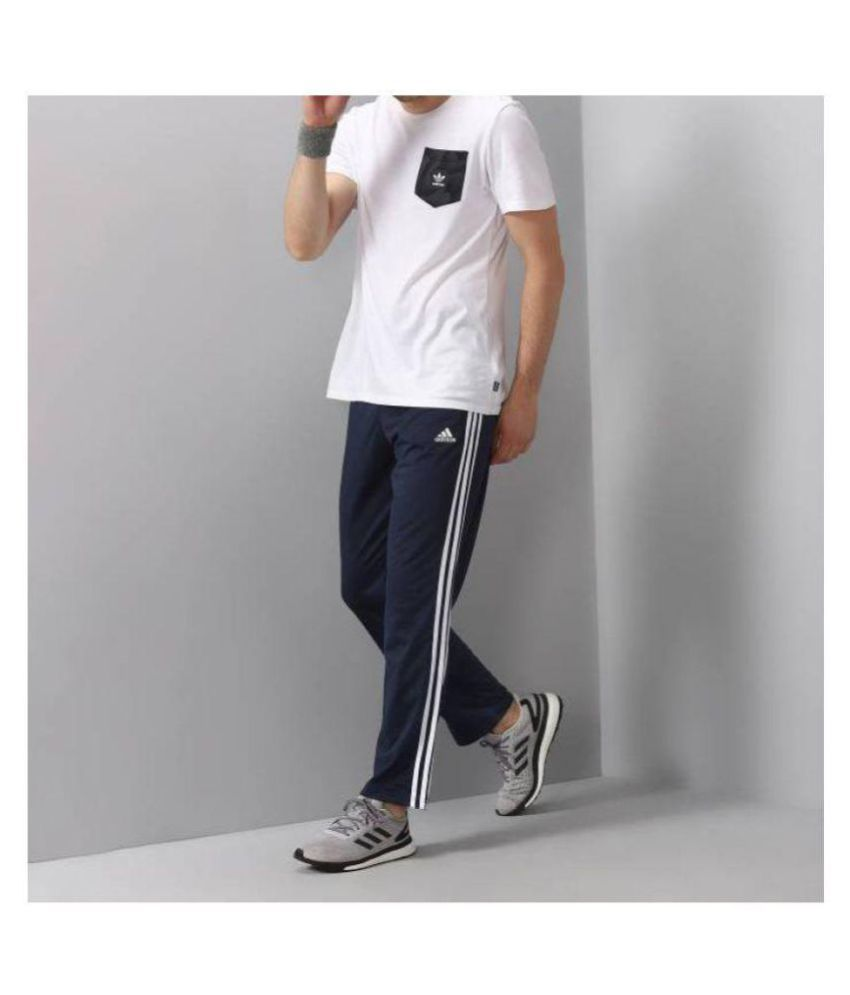 Adidas Blue Polyester Lycra Trackpants