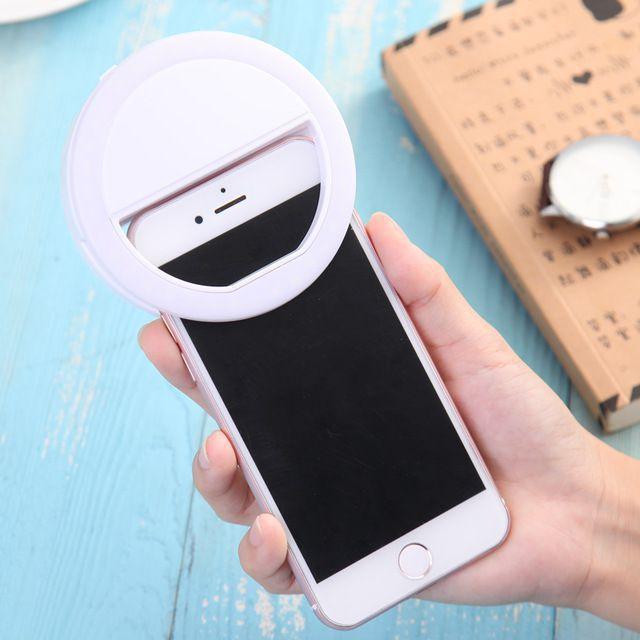 A R Night LED Selfie Flash Light Ring Flash (Black)
