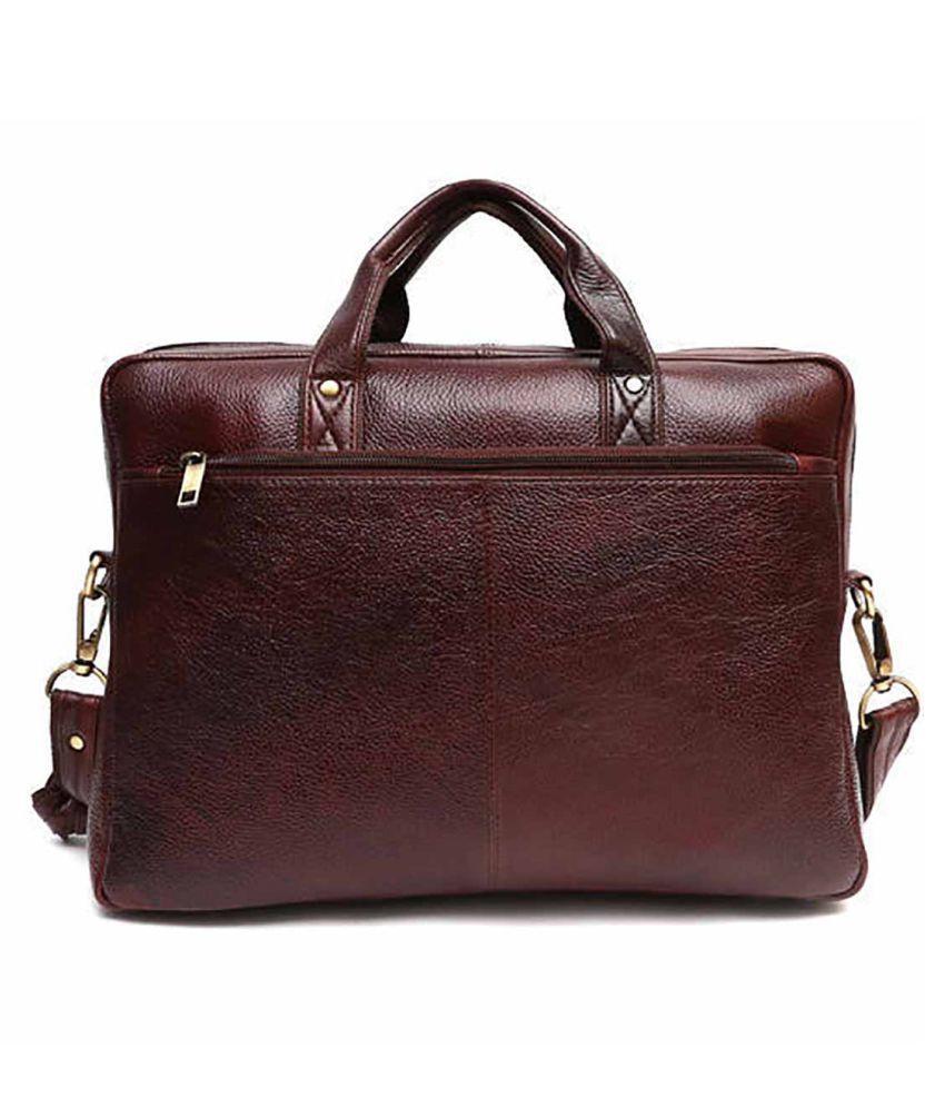 Carry Trip Brown Leather Office Messenger Bag