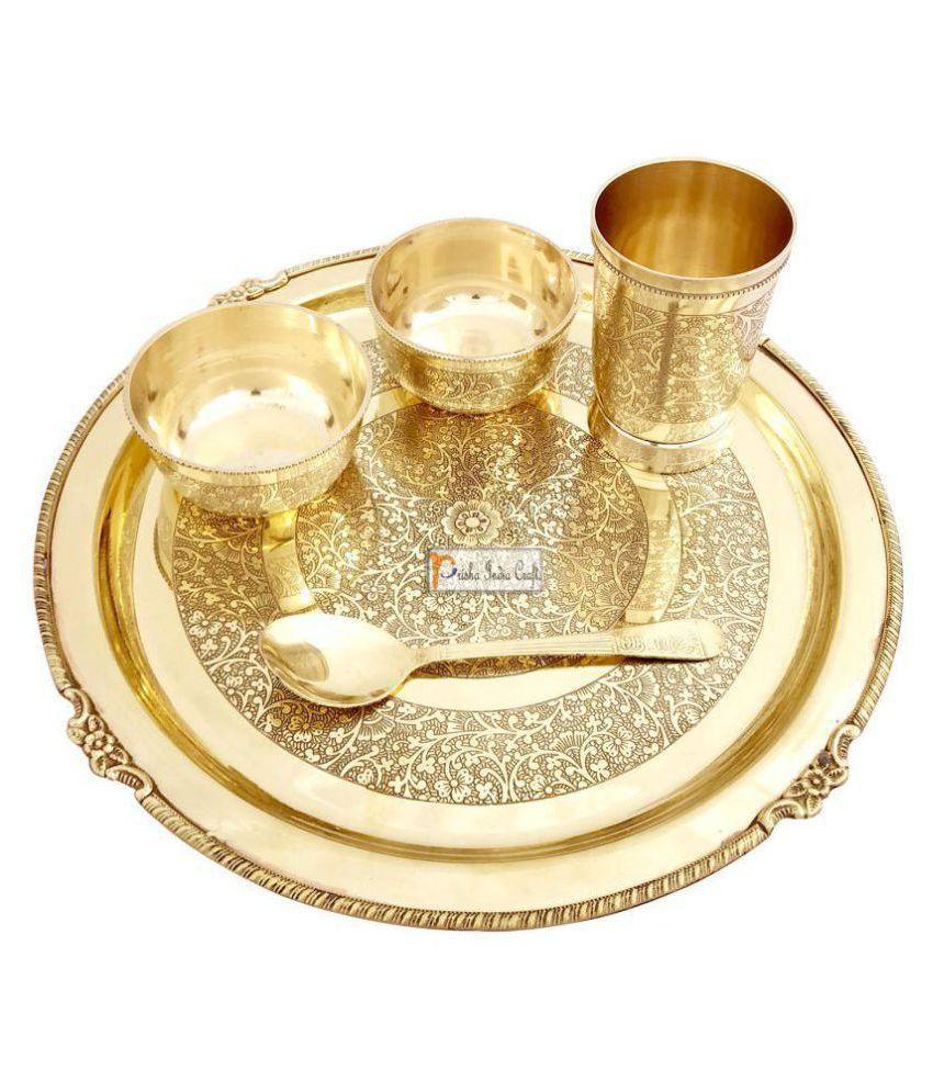 Prisha India Craft Brass Dinner Set of 5 Pieces