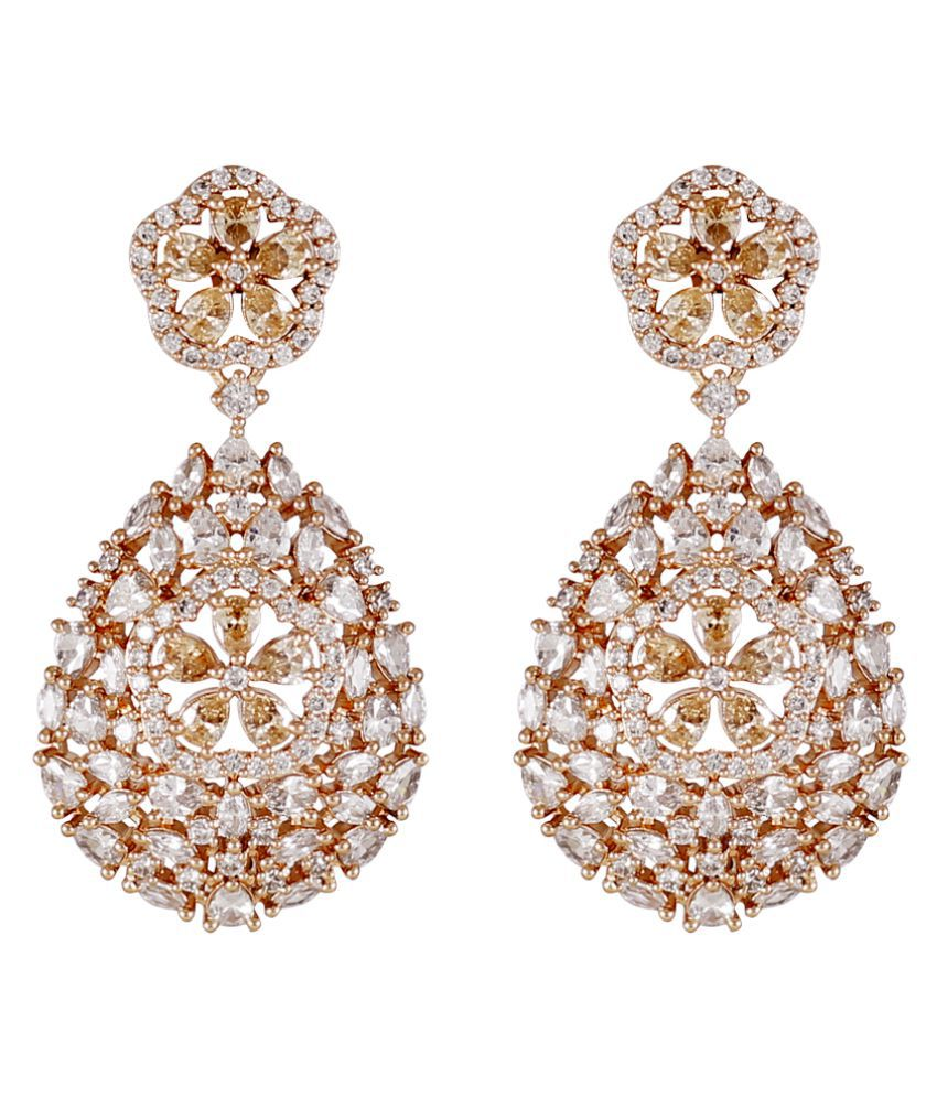Fusion Rose Gold Polish American Diamond Earrings