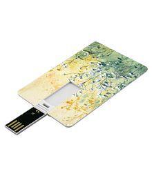 SmartNxt Credit Card Shape Designer 16GB Pen Drive -Nature - Blue Flower