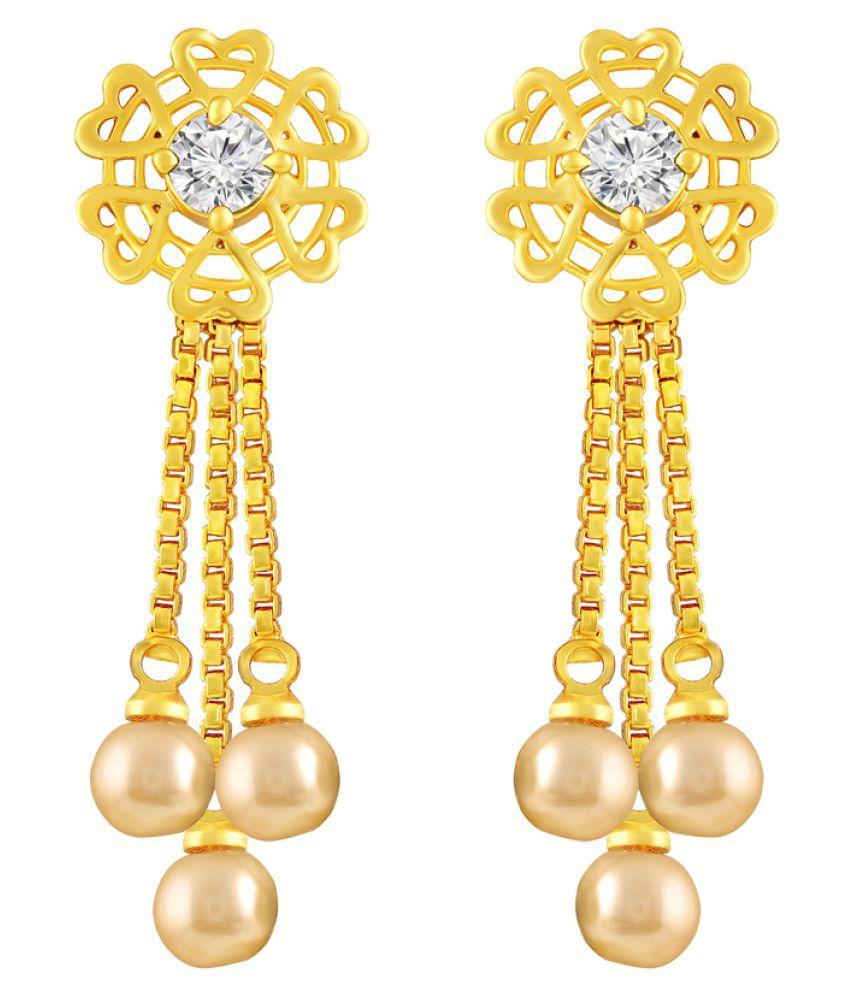 MFJ Fashion Jewellery Classy Brass Gold Plated Dangle Earring For Women