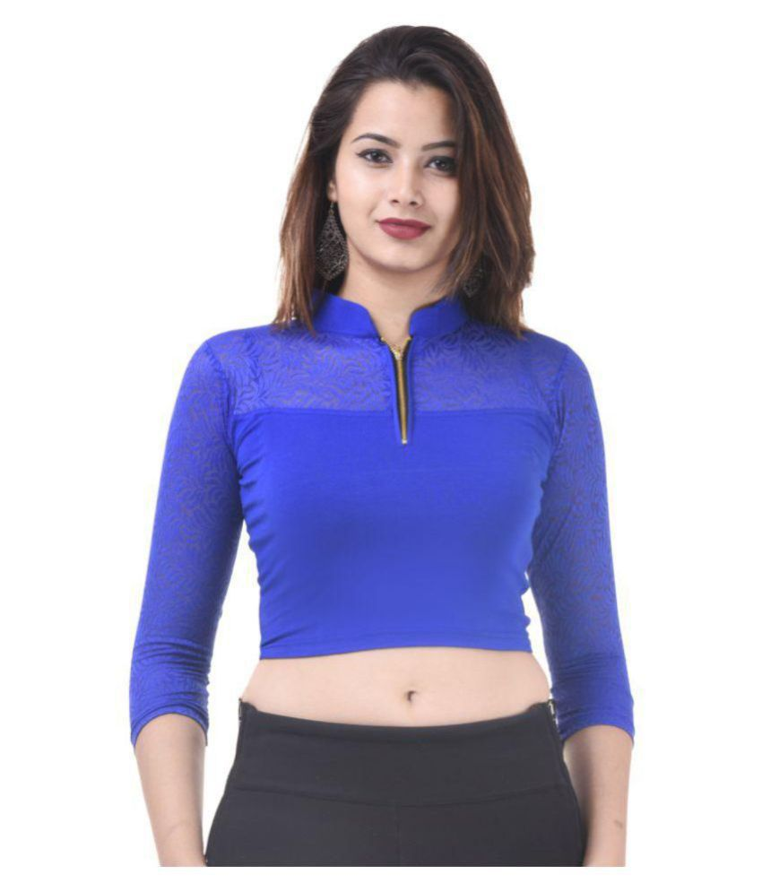 Wow Blue Lycra Readymade without Pad Blouse