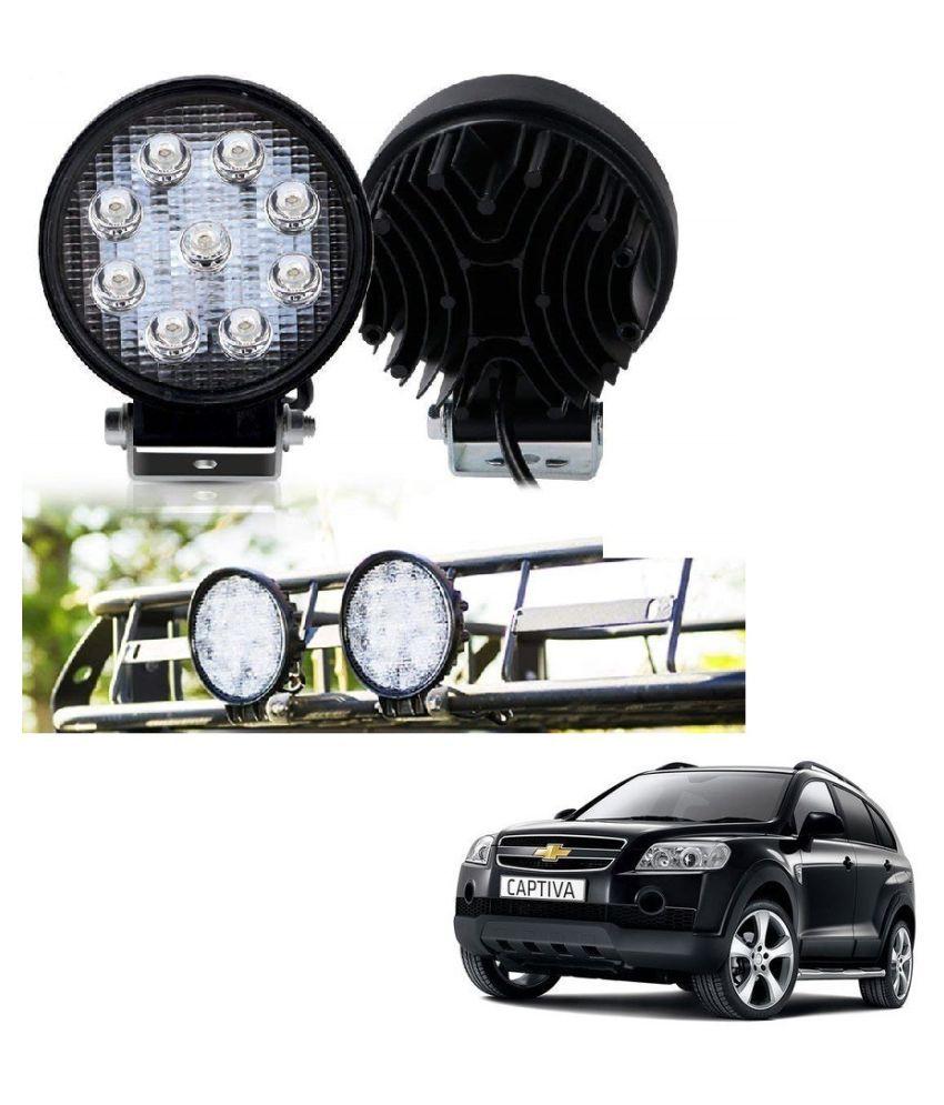 Auto Addict DEVICE 4 inch, 9 LED 27Watt Round Fog Light with Flood Beam Auxiliary Lamp Set Of 2 Pcs For Chevrolet Captiva