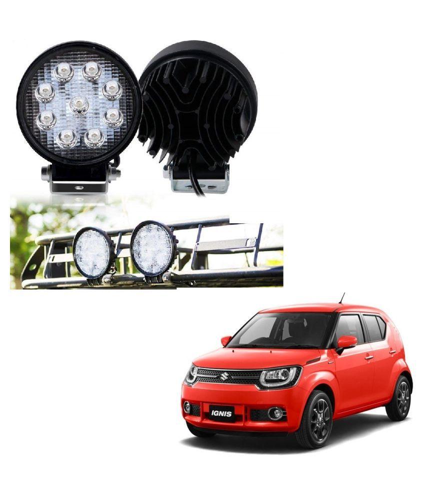 Auto Addict DEVICE 4 inch, 9 LED 27Watt Round Fog Light with Flood Beam Auxiliary Lamp Set Of 2 Pcs For Maruti Suzuki Ignis