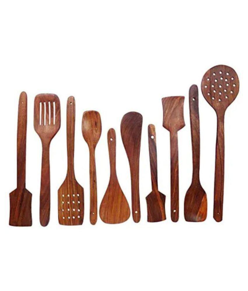 Onlineshoppee 10 Pcs Wooden Cutlery Set