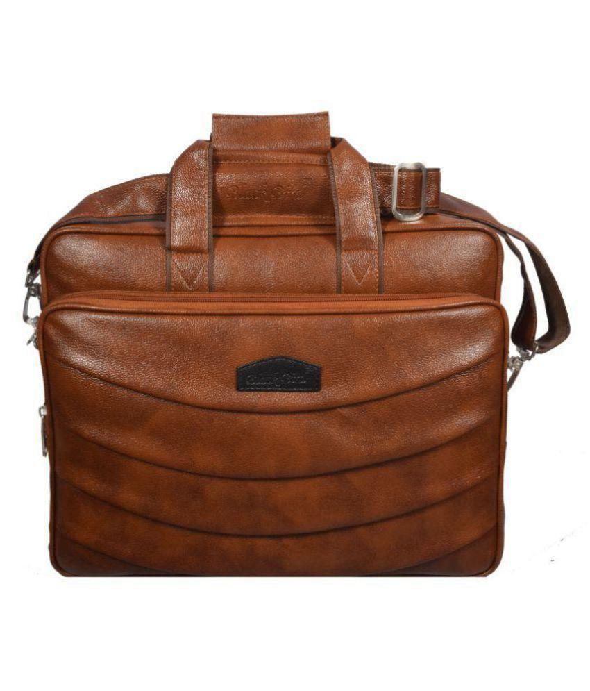 Black Bird Tan Synthetic Office Bag