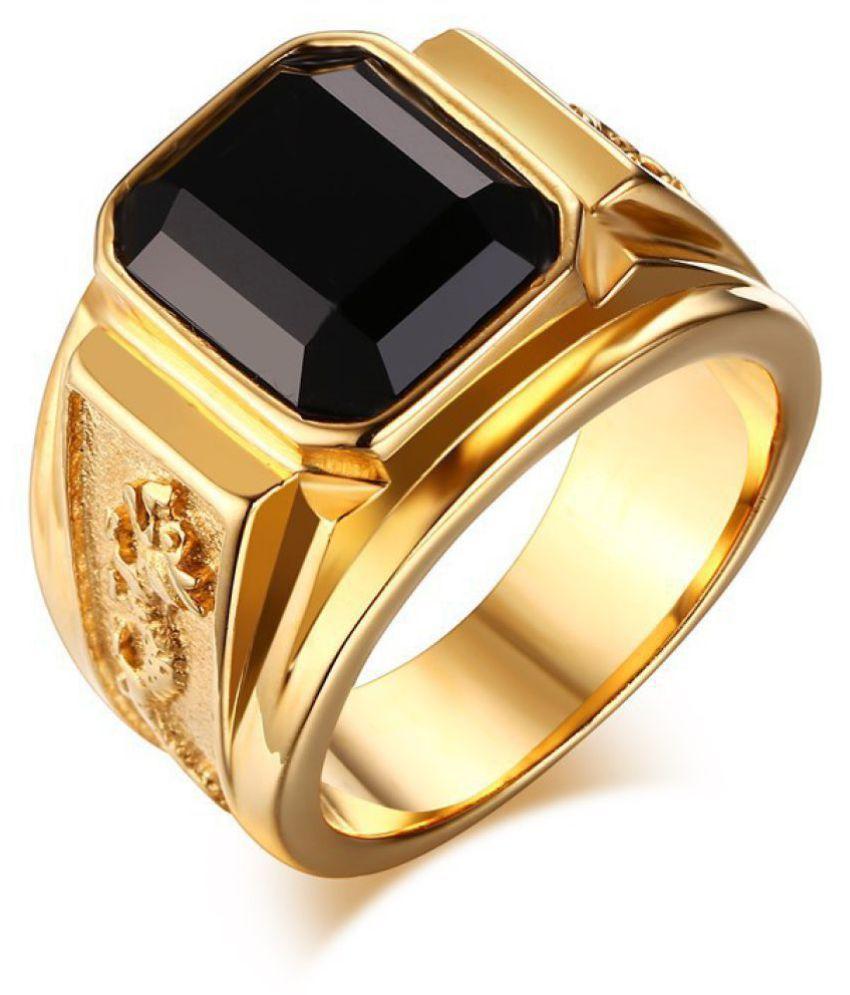 Ring Golden Color Black Diamond Men Fashion Jewellery