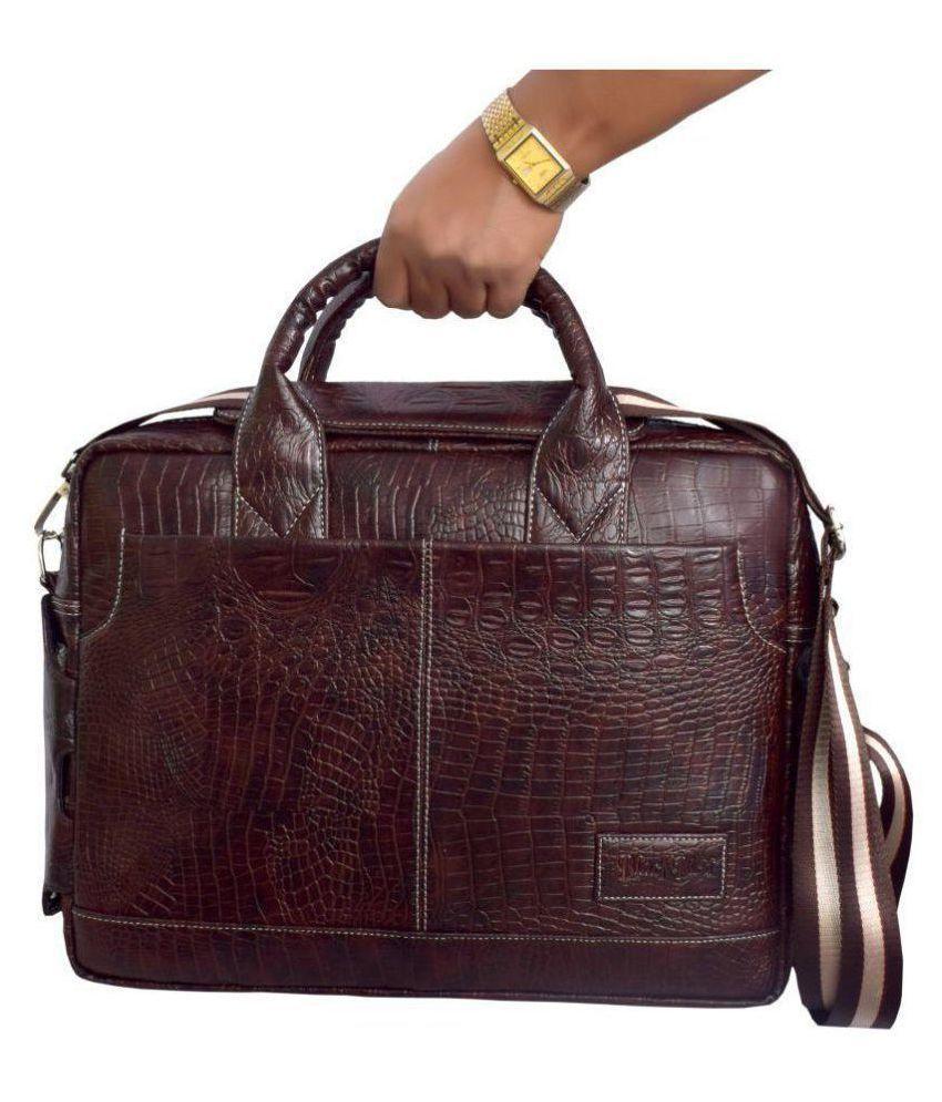Black Bird Brown Synthetic Office Bag
