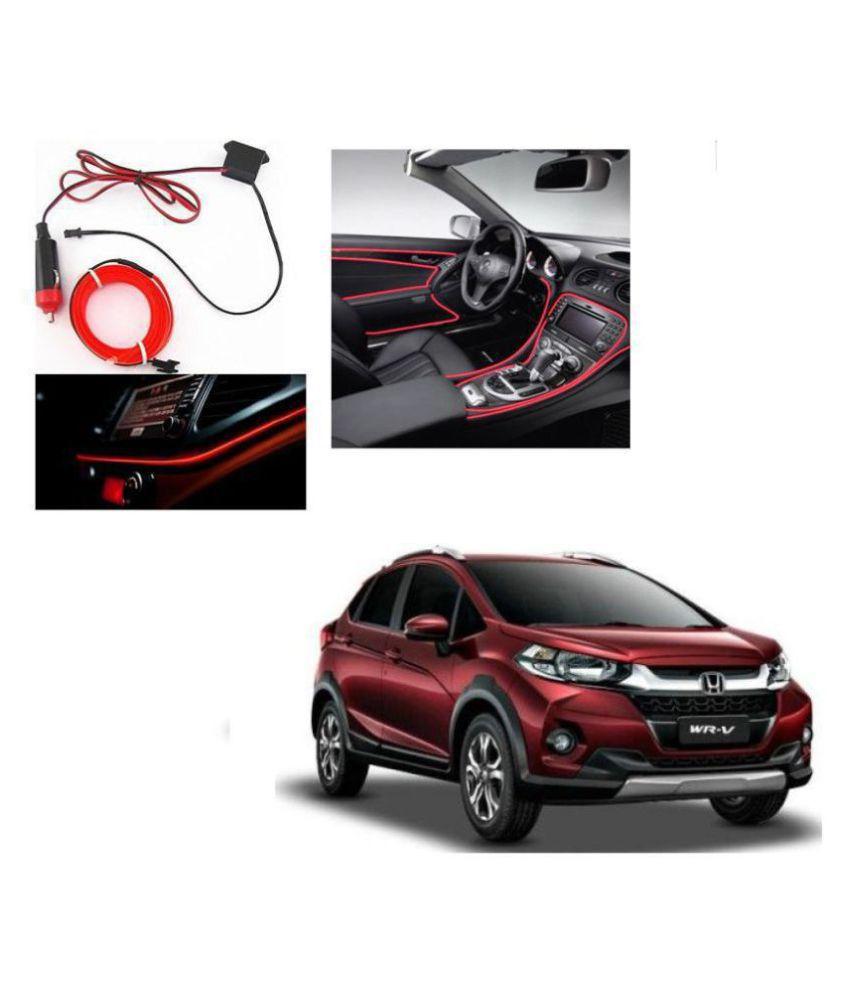 Auto Addict Red Color 12V 5Mtrs Roll Cold Light Car Socket Strip Neon Lamp Creator Decor Dashboard Interior Lighting For Honda WRV