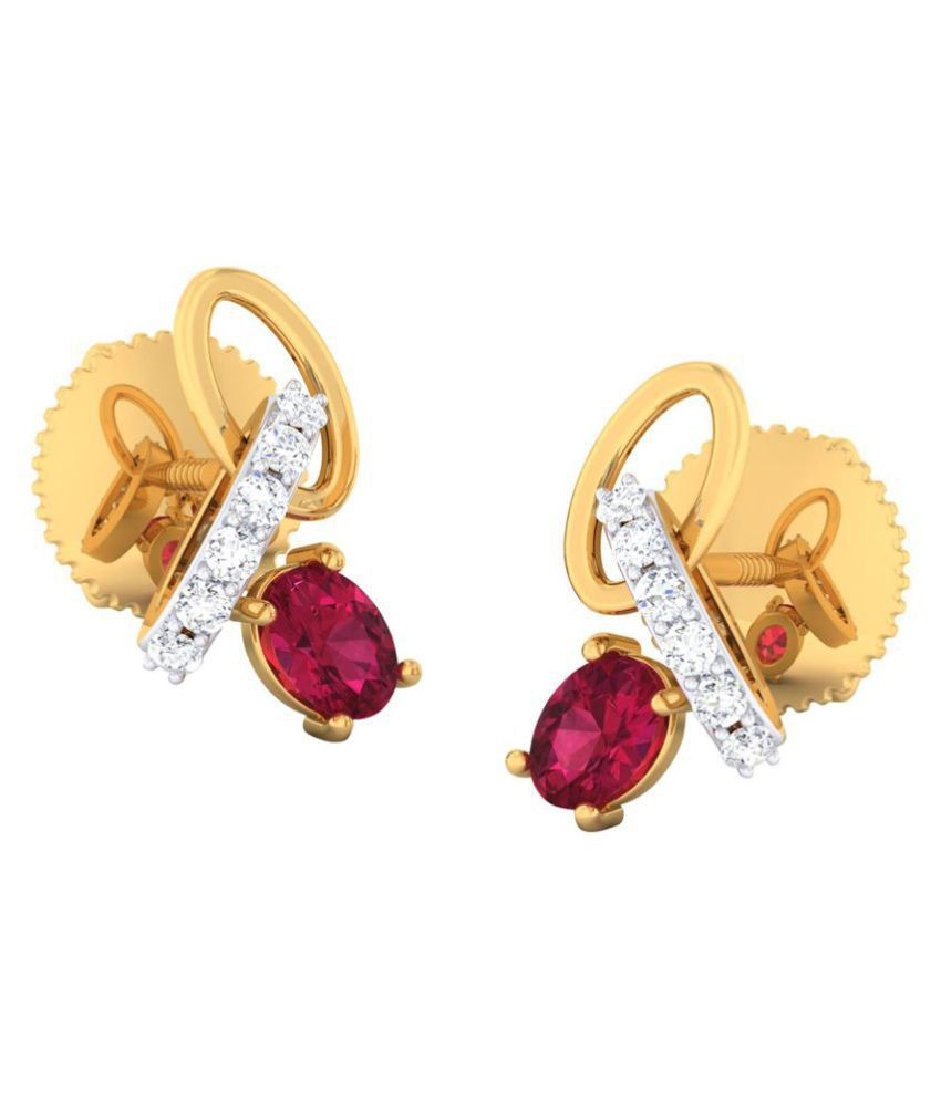 JewelKari.com 18k BIS Hallmarked Yellow Gold Diamond Studs