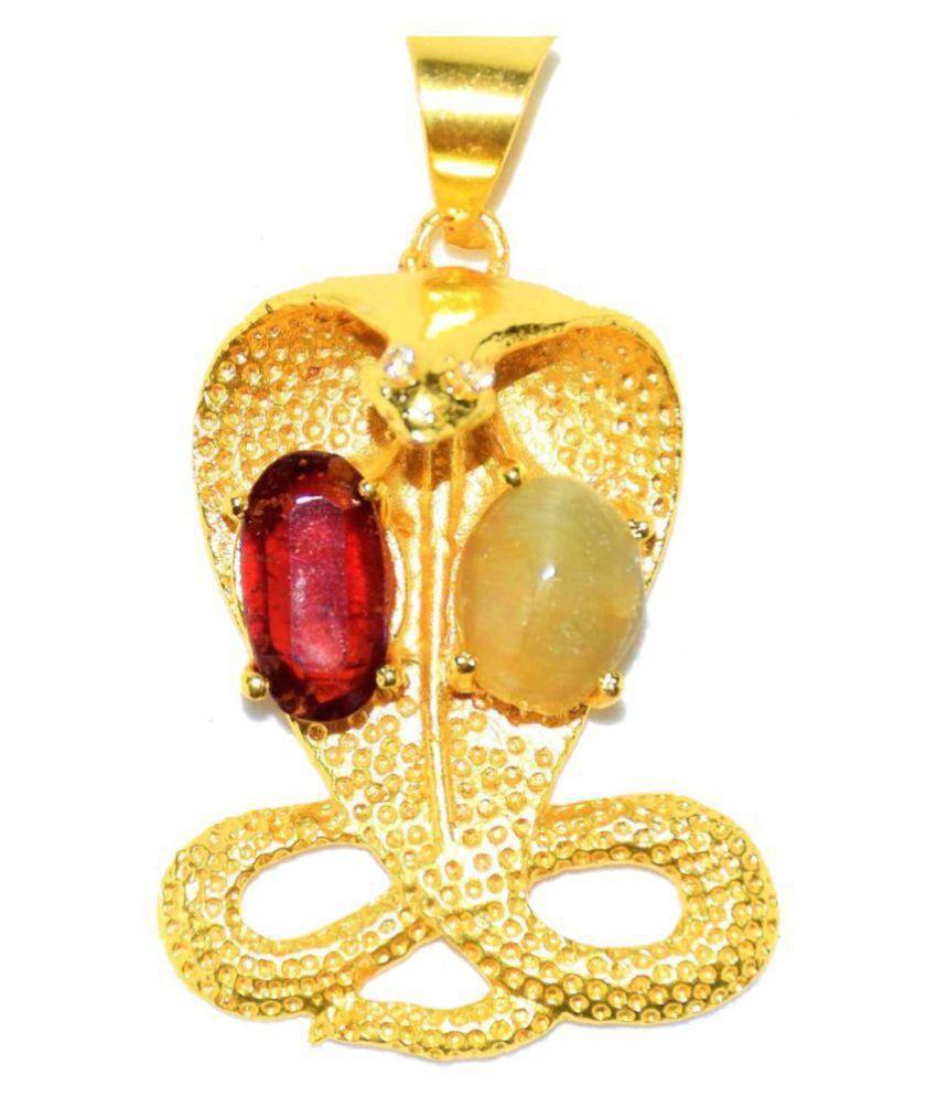 Kaal sharp yog niwaran kavach pendant with 100% Original gemstones / Original Cat's Eye and Hessonite stones / to overcome bad influences of Rahu Ketu / Genuine product / Snake Design