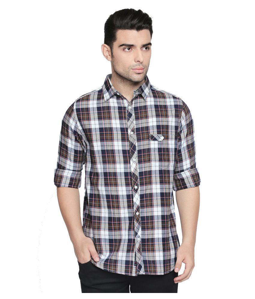 Solemio 100 Percent Cotton Multi Checks Shirt