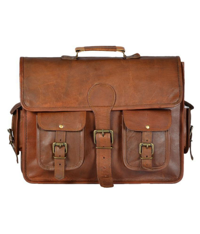 YUDARE Brown Leather Office Messenger Bag