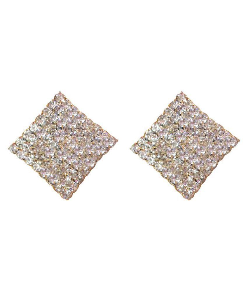 Non Piercing C.lip-on White Colour Square Shape Stud Earrings for Non Pierced Ear for Girls/Women