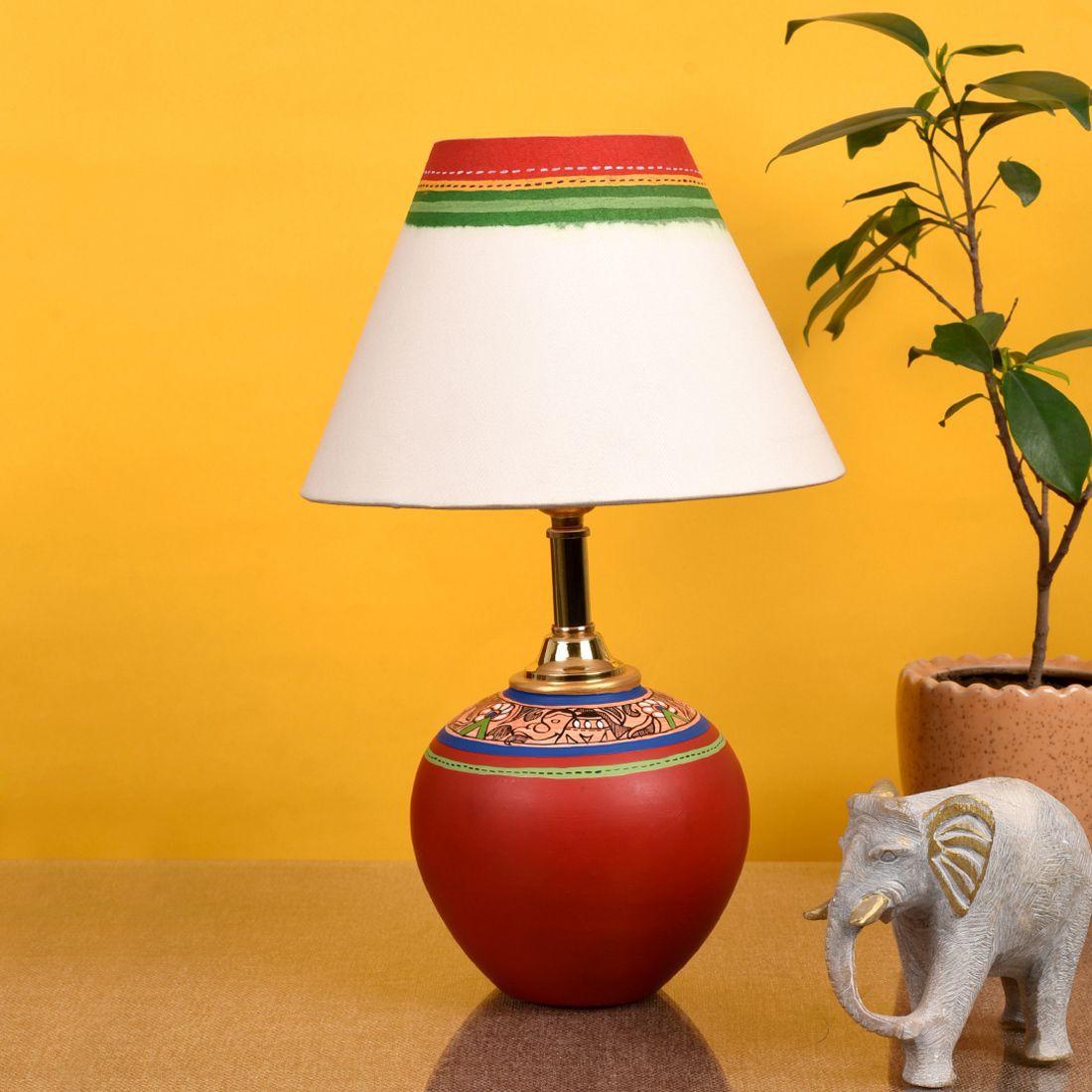 Aakriti Art Creations Terracotta Table Lamp - Pack of 1