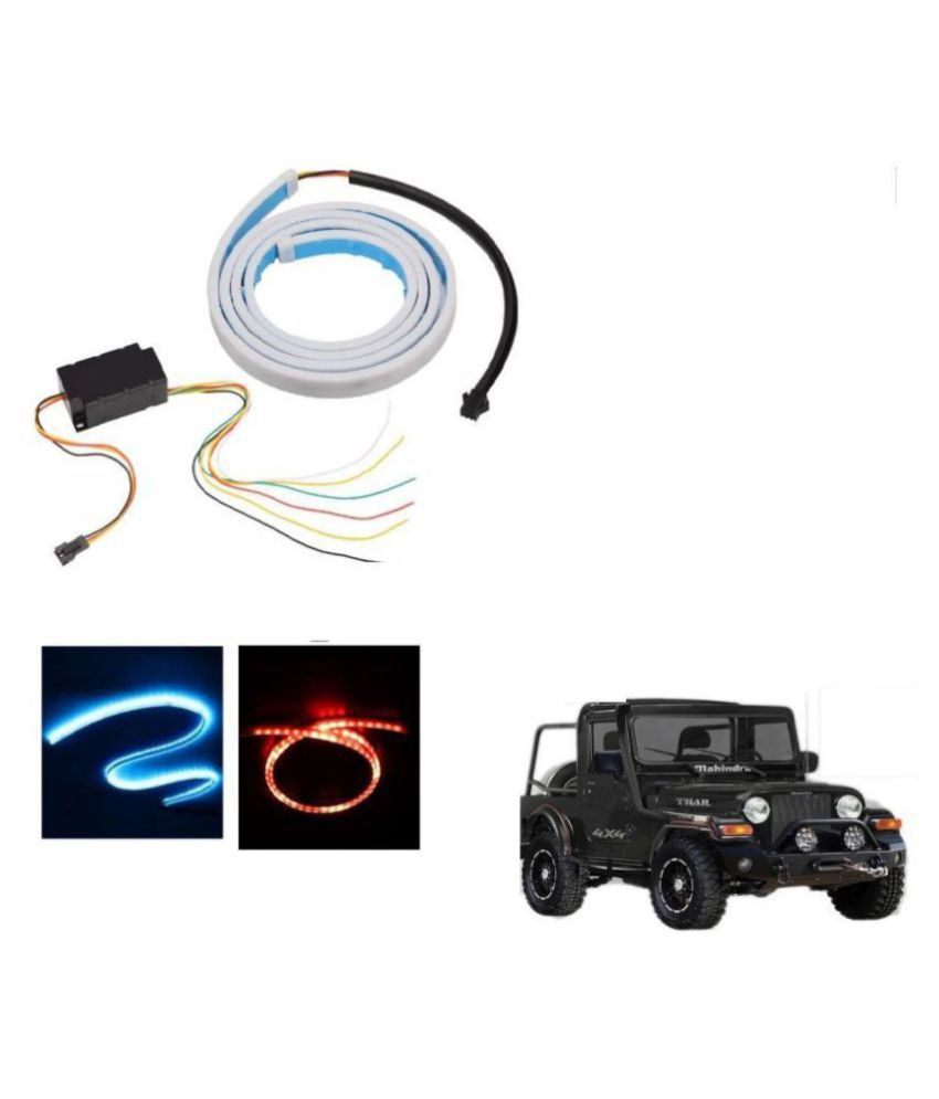 Auto Addict LED Dicky Light Ice Blue & Red DRL Brake with Side Turn Signal & Parking Indication Dicky, Trunk, Boot Strip Light For Mahindra Thar